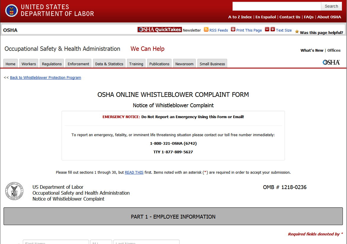 OSHA Debuts Online Form For Whistleblowers To File A Complaint ...
