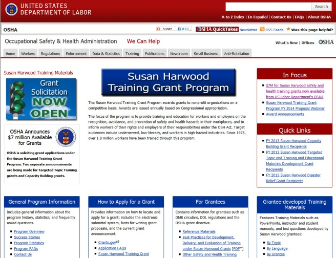 Susan Harwood Training Grant Program 2014-05-16 16-30-27