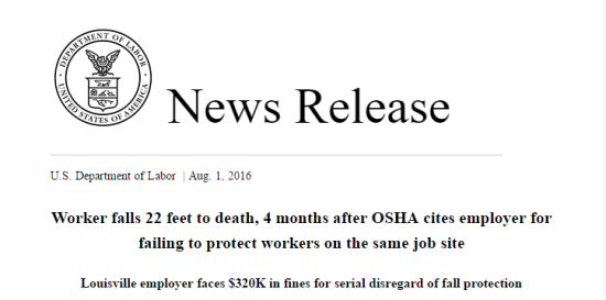 Worker falls 22 feet to death  4 months after OSHA cites employer for failing to protect workers on the same job site