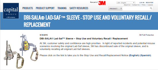 DBI SALA® Lad Saf™ Sleeve – Stop Use and Voluntary Recall   Replacement